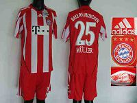 Bayern #25 Bayern Munchen Red White Strip Home Soccer Club Jersey