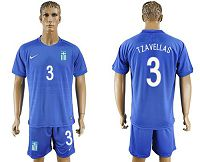 Greece #3 Tzavellas Away Soccer Country Jersey