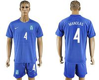 Greece #4 Manolas Away Soccer Country Jersey