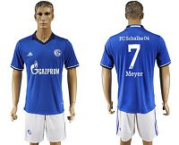 Schalke 04 #7 Meyer Blue Home Soccer Club Jersey