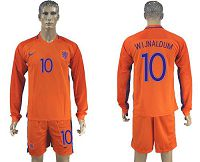 Holland #10 Wijnaldum Home Long Sleeves Soccer Country Jersey