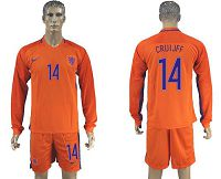Holland #14 Cruijff Home Long Sleeves Soccer Country Jersey