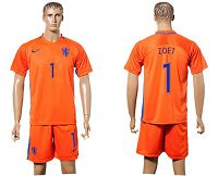 Holland #1 Zoet Home Soccer Country Jersey