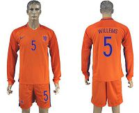 Holland #5 Willems Home Long Sleeves Soccer Country Jersey