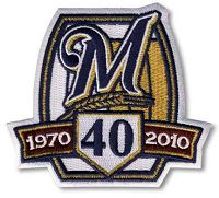 Stitched 2010 Milwaukee Brewers 40th Anniversary Jersey Patch