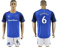 Everton #6 Jagielka Home Soccer Club Jersey