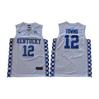 Men's Kentucky Wildcats #12 Karl-Anthony Towns White Nike NCAA College Basketball Jersey