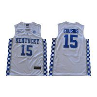 Men's Kentucky Wildcats #15 DeMarcus Cousins White Nike NCAA College Basketball Jersey