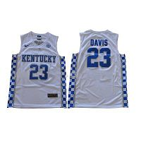 Men's Kentucky Wildcats #23 Anthony Davis White Nike NCAA College Basketball Jersey