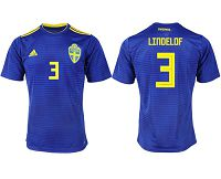 Sweden #3 Lindelof Away Soccer Country Jersey