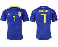 Sweden #7 Larsson Away Soccer Country Jersey