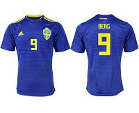 Sweden #9 Berg Away Soccer Country Jersey
