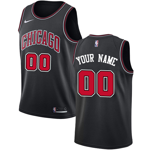Men's Nike Bulls Personalized Swingman Black NBA Statement Edition Jersey