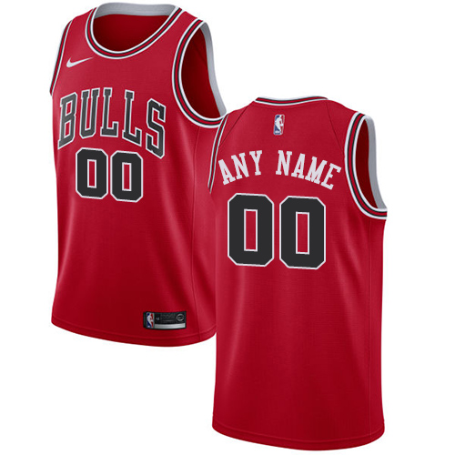 Men's Nike Bulls Personalized Swingman Red NBA Icon Edition Jersey