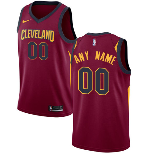 Men's Nike Cavaliers Personalized Swingman Red NBA Icon Edition Jersey