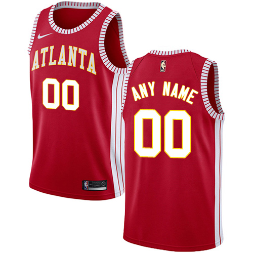 Men's Nike Hawks Personalized Swingman Red NBA Statement Edition Jersey