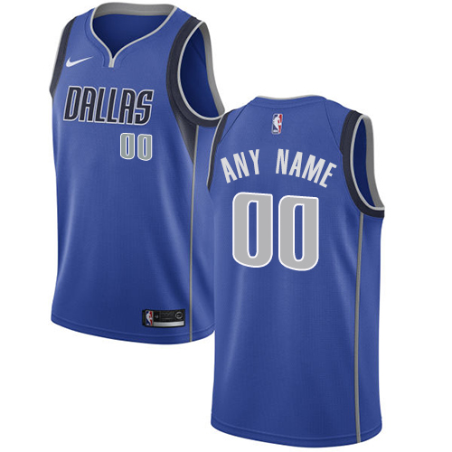 Men's Nike Mavericks Personalized Swingman Royal Blue NBA Icon Edition Jersey