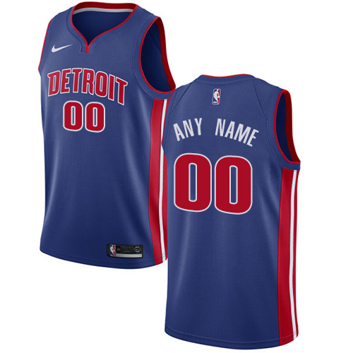 Men's Nike Pistons Personalized Swingman Royal Blue NBA Icon Edition Jersey