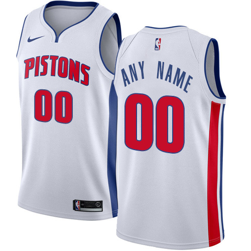 Men's Nike Pistons Personalized Swingman White NBA Association Edition Jersey