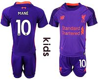 Liverpool #10 Mane Away Kid Soccer Club Jersey