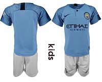 Manchester City Blank Home Kid Soccer Club Jersey