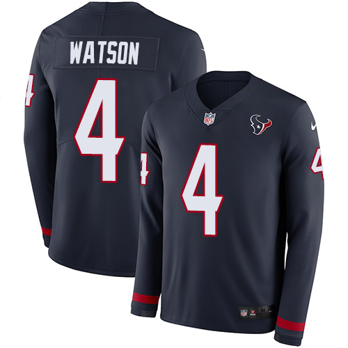 Nike Houston Texans  4 Deshaun Watson Navy Blue Team Color Men s Stitched  NFL Limited Therma Long Sleeve Jersey aef9dfb834df