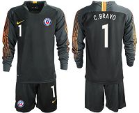 Chile #1 C.Bravo Black Goalkeeper Long Sleeves Soccer Country Jersey