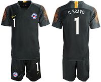 Chile #1 C.Bravo Black Goalkeeper Soccer Country Jersey