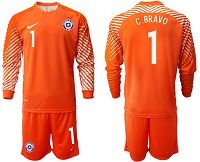 Chile #1 C.Bravo Orange Goalkeeper Long Sleeves Soccer Country Jersey
