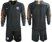 Chile Blank Black Goalkeeper Long Sleeves Soccer Country Jersey