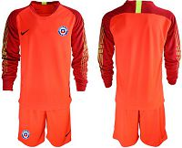 Chile Blank Red Goalkeeper Long Sleeves Soccer Country Jersey