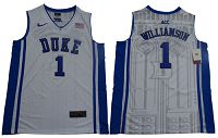 Duke Blue Devils #1 Zion Williamson White/Blue Basketball Elite Stitched NCAA Jersey