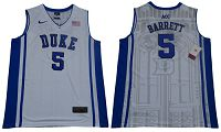 Duke Blue Devils #5 R.J. Barrett White/Blue Basketball Elite Stitched NCAA Jersey