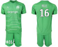 Marseille #16 Pele Green Goalkeeper Soccer Club Jersey