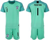 England #1 Pickford Green Goalkeeper Soccer Country Jersey