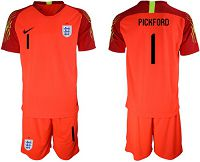 England #1 Pickford Red Goalkeeper Soccer Country Jersey