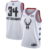 Men's Jordan Brand Milwaukee Bucks #34 Giannis Antetokounmpo White 2019 All- Star Game Finished Swingman NBA Jersey