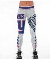 Women's New York Giants Team Sublimated Fashion Yoga High Waist Fitness Leggings 01