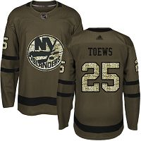 New York Islanders #25 Devon Toews Green Salute to Service Stitched NHL Jersey