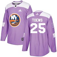 New York Islanders #25 Devon Toews Purple Authentic Fights Cancer Stitched NHL Jersey