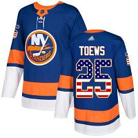 New York Islanders #25 Devon Toews Royal Blue Home Authentic USA Flag Stitched NHL Jersey