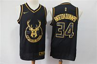 Men's Nike Milwaukee Bucks #34 Giannis Antetokounmpo Black Gold Swingman Jersey