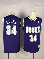 Men's Milwaukee Bucks #34 Ray Allen Throwback Purple Soul Swingman Stitched NBA Jersey