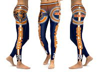 Women's Chicago Bears New Season Sublimated Fashion Yoga Sports Leggings NFL Jersey
