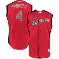 Men's American League Majestic #4 George Springer Red 2019 MLB All-Star Game Workout Player Jersey
