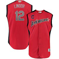 Men's American League Majestic #12 Francisco Lindor Red 2019 MLB All-Star Game Workout Player Jersey
