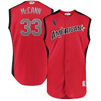 Men's American League Majestic #33 James McCann Red 2019 MLB All-Star Game Workout Player Jersey