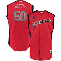 Men's American League Majestic #50 Mookie Betts Red 2019 MLB All-Star Game Workout Player Jersey