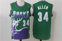 Men's Mitchell&Ness Milwaukee Bucks #34 Ray Allen 1996-97 Hardwood NBA Classic Swingman Green Throwback Jersey