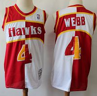 Atlanta Hawks Split Fashion #4 Spud Webb Red/White Stitched NBA Jersey